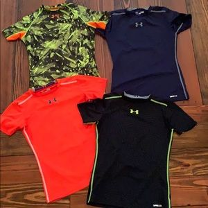 Under Armour Fitted Shirts, lot of 4, Boys Sz L